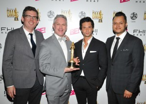 Matthew Finnerty, Matthew Pestorius, Daniel Lopez and Michael Mejia from Oribe received the #1 Luxury Salon Brand in America Award