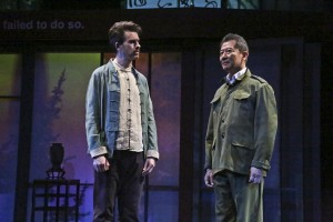 (L-R) Jeff Locker as British ex-pat Peter Timms and Ben Wang as Minister of Culture Cai Guoliang in East West Players production of David Henry Hwang's Chinglish.