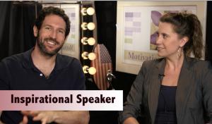 Inspirational Speaker Caught Between Takes